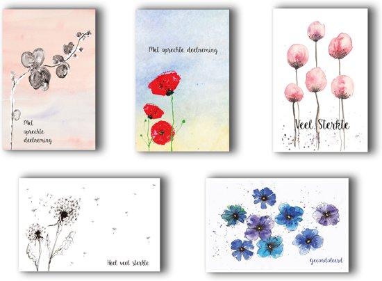 Condoleance kaarten - rouwkaarten - met oprechte deelneming - bloemen - set 5 stuks