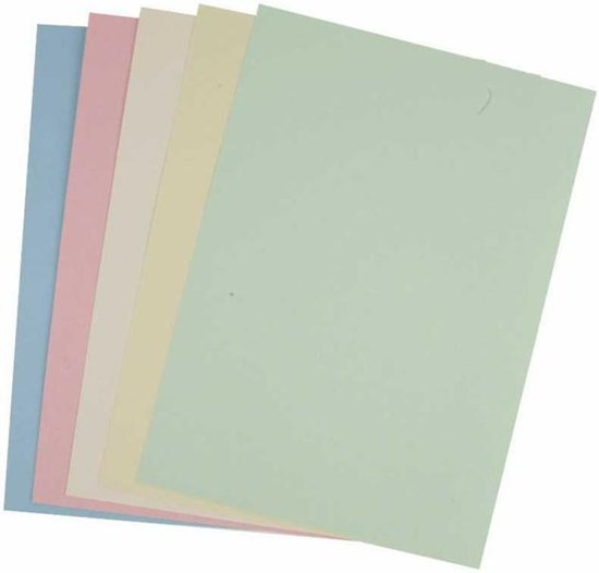 Pastel karton, A4 210x297 mm, 160 gr, 210 div vellen, pastelkleuren