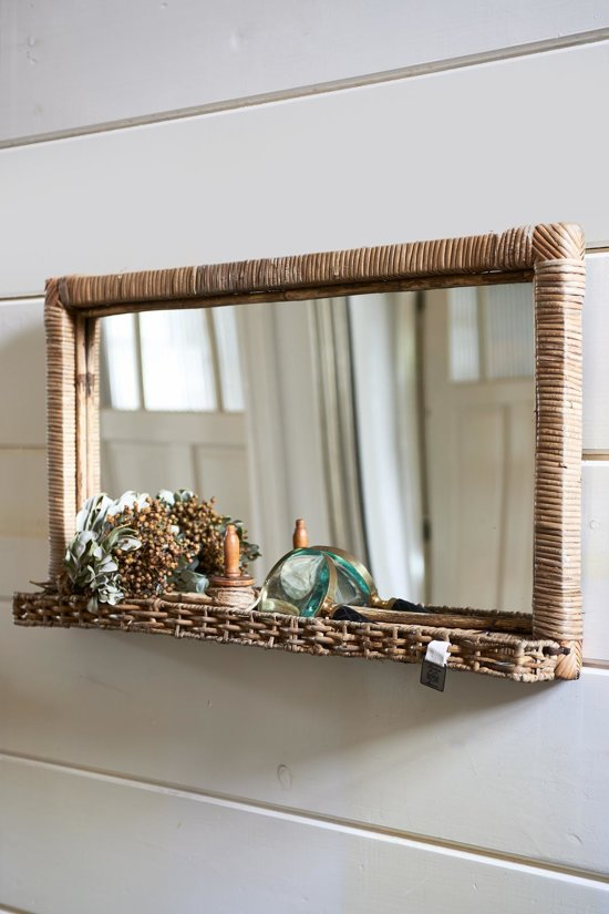 rivi ra maison rustic rattan hall mirror spiegel 70 x 40 cm l rattan. Black Bedroom Furniture Sets. Home Design Ideas