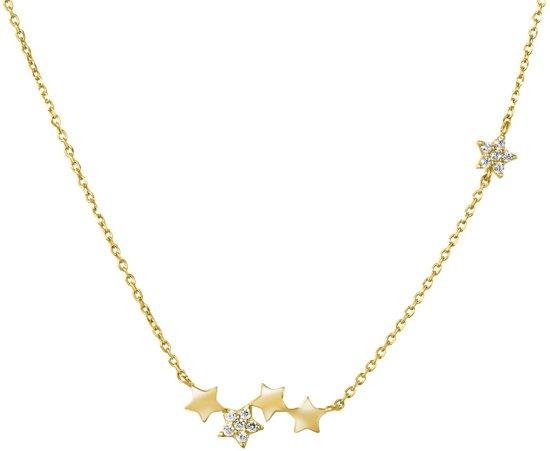 Lucardi - 14 Karaat geelgouden ketting sterren met zirkonia