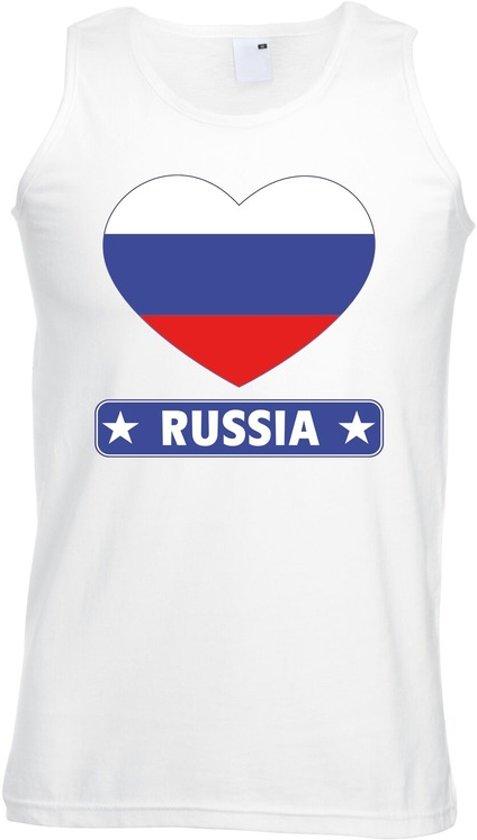 Rusland singlet shirt/ tanktop met Russische vlag in hart wit heren L