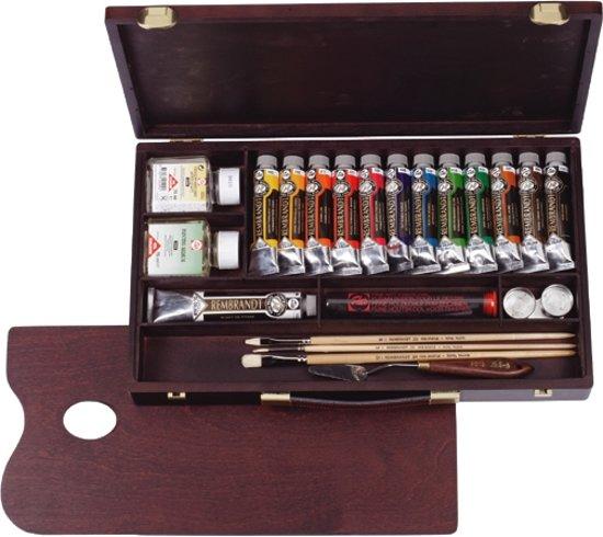 Rembrandt olieverf kist 13 tubes met accessoires - Professional