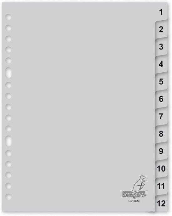 tabblad Kangaro A5 cijfers PP 120mµ grijs 17-gaats 12-delig