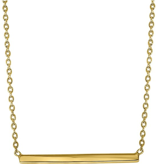 Lucardi - Zilveren ketting bar goldplated