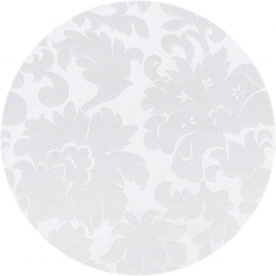 MixMamas Rond Tafelkleed Gecoat - Ø 160 cm - Bloem -Jacquard - Wit
