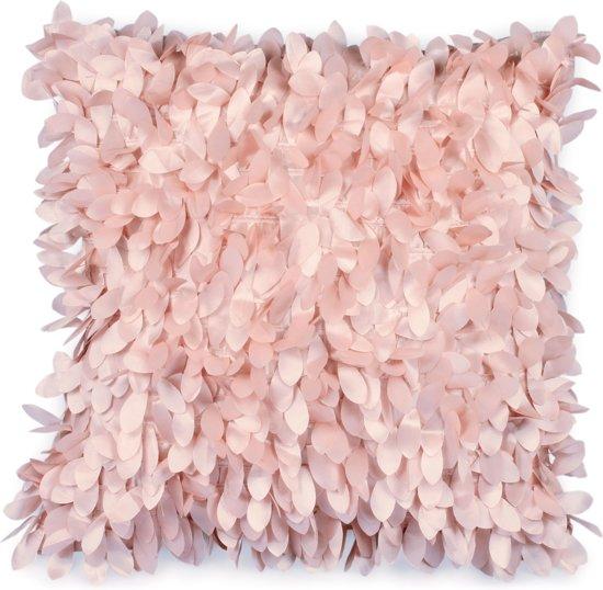 bolcom dutch decor leafs sierkussen 45x45 cm roze
