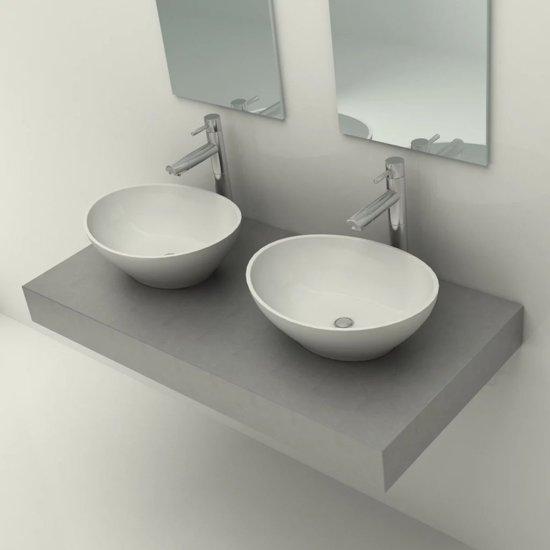 Grijze Wasbak Badkamer : Bol betonnen wastafel met twee wasbakken
