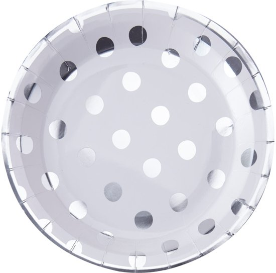 Ginger Ray Pick & Mix - Papieren borden - Polka dot zilver - Set-8 Valentinaa