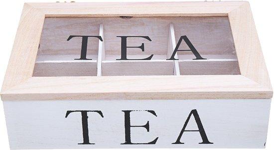 6 vakken houten theezakje opbergdoos helder boven container opslag kist tin geschenkdoos
