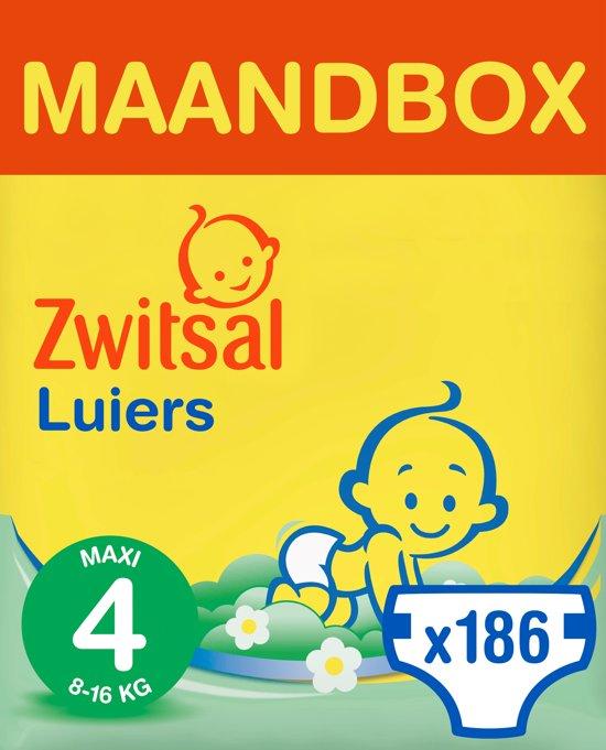 Zwitsal luiers Maandbox Maat 4 (Maxi) 8-16 kg Luiers - 186 stuks