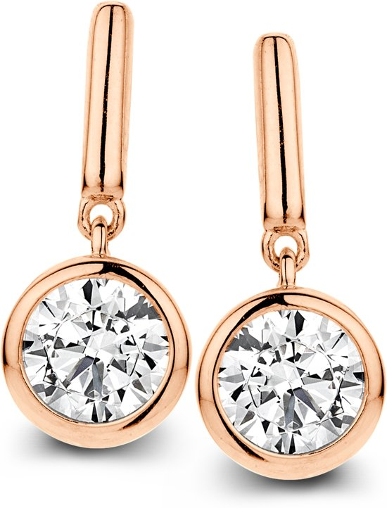 Velini jewels -EA6481R -Oorbellen -925 Zilver rosé  -Cubic Zirkonia