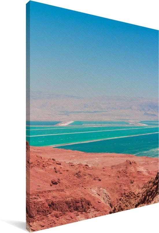 Aziatische landschappen bij de Dode Zee tijdens de zomer Canvas 20x30 cm - klein - Foto print op Canvas schilderij (Wanddecoratie woonkamer / slaapkamer)