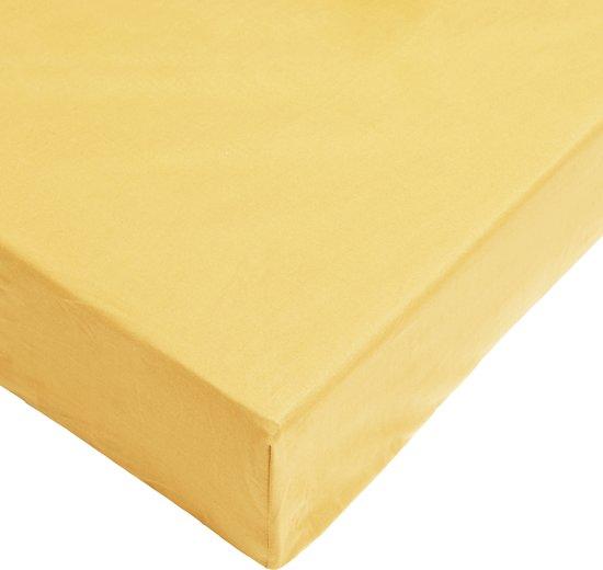 Day Dream hoeslaken - strijkvrij - katoen - 90 x 200 - Geel