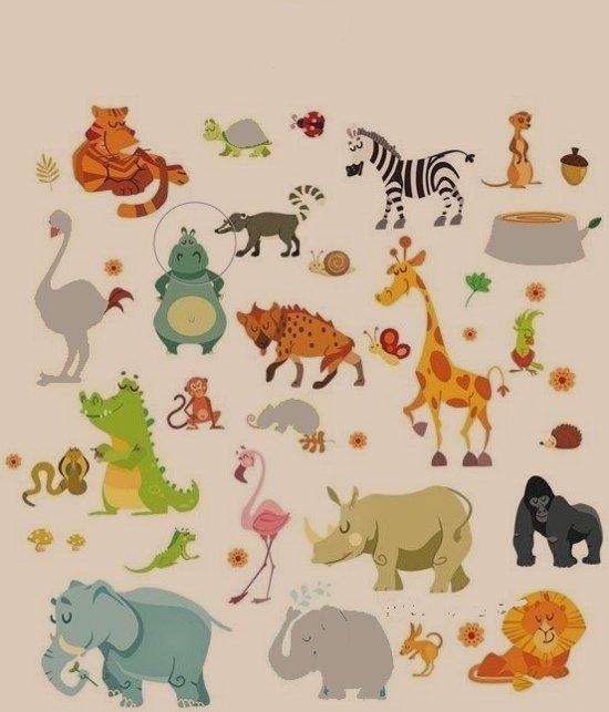 Muurstickers Babykamer Jongen.Muursticker Wanddecoratie Safari Dieren Jungle Dierentuin