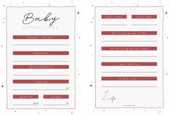 Babyshower invulkaarten | Voorspellingskaarten | Babyshower kaarten |12 | studiobydiede.com |