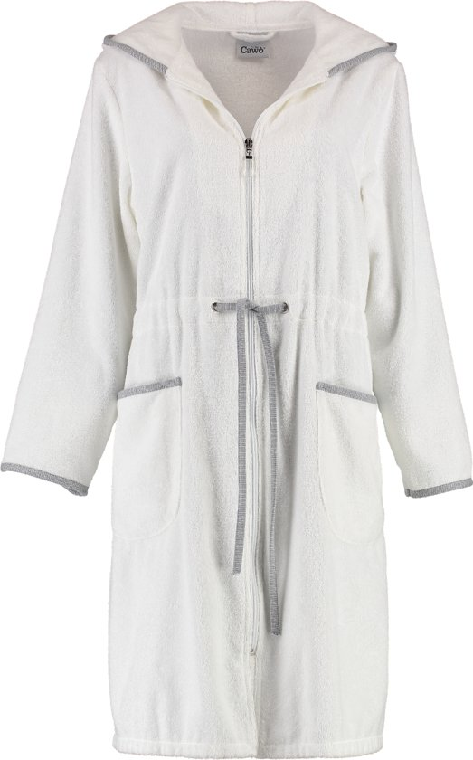 3140f844a78 Cawö korte dames badjas badstof met rits wit maat 46