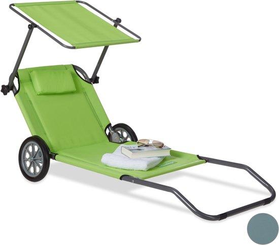 Strandstoel Met Wielen.Relaxdays Strandstoel Met Wielen Beach Trolley Opklapbaar Strand Wagen Groen