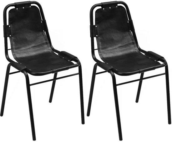 Eettafel stoelen zwart leer stoel cedric zwart leder furnified