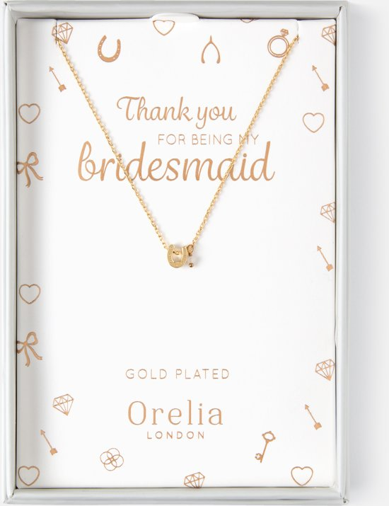 Orelia ketting kort - bruidscollectie ketting met hoefijzer - goudkleurig - 40,5 cm + 5,0 cm verlengstuk