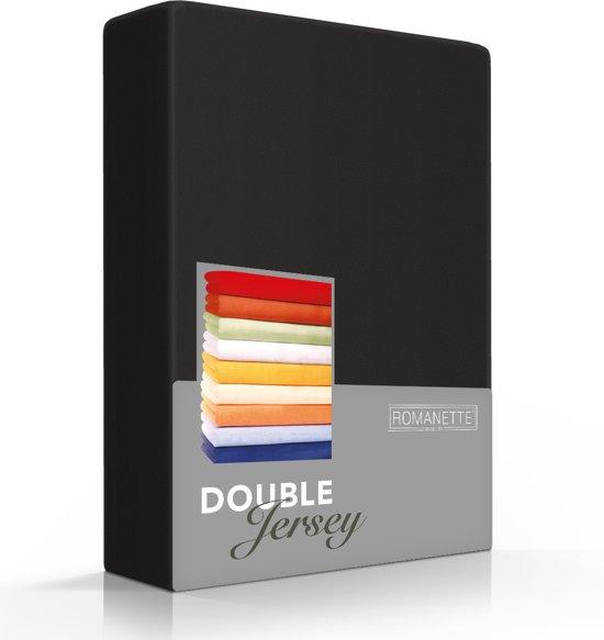 Comfortabele Dubbel Jersey Hoeslaken Zwart   160x220  Heerlijk Zacht   Extra Dikke Kwaliteit