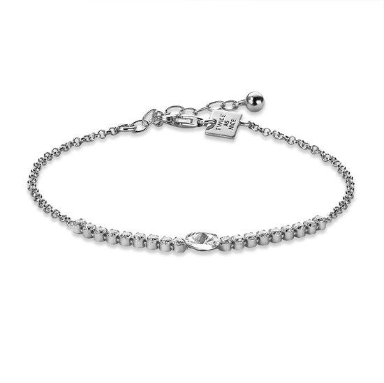 Twice As Nice Armband in zilver, 1 kristal, 18 kleine kristallen  17 cm+3 cm