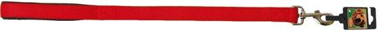 "Hondenriem Nylon korthouder ""SP"" dubbel 25 mm x 60 cm, rood."