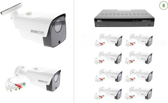 Sitcon | 2K HD UTP (8X) Bullet buitencamera set met POE NVR recorder