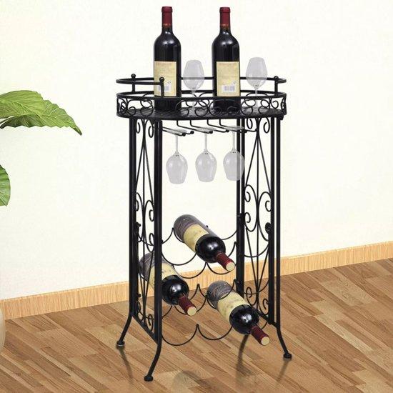 Tafeltje Met Wijnrek.Vidaxl Metalen Wijnrek 77 5 Cm Hoog Zwart Staand Tafelmodel Met Haken 9 Flessen