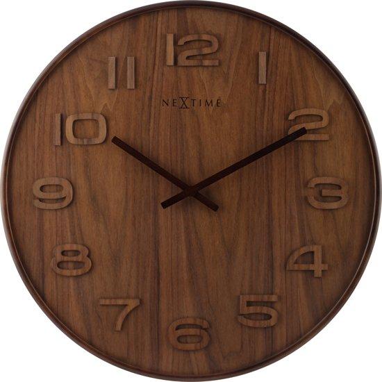 Vaak bol.com | NeXtime Wood Wood Big - Klok - Groot - Rond - Hout - Ø &WC35