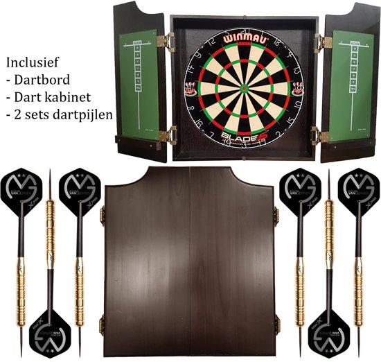 Dragon darts - Pro complete – dartkabinet – inclusief – Winmau blade 5 dartbord – inclusief 2 Michael van Gerwen - dartpijlen