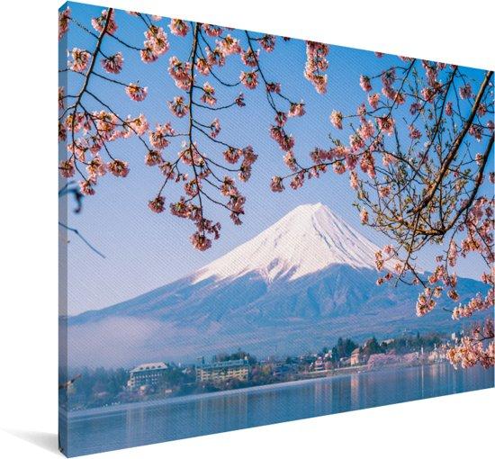 Uitzicht op de Fuji Berg in het Aziatische Japan Canvas 60x40 cm - Foto print op Canvas schilderij (Wanddecoratie woonkamer / slaapkamer)