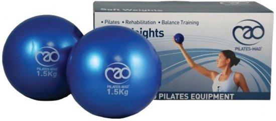 Fitness-mad Yoga/pilates zachte gewichten bal 3kg (2x1.5kg) 12 cm blauw