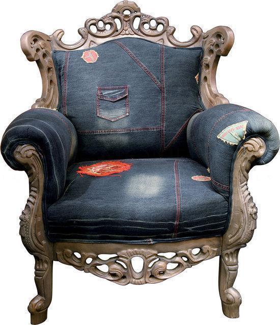 Barok Stoel Fauteuil.Bol Com Kare Design Barok Fauteuil Mink Jeans Blauw
