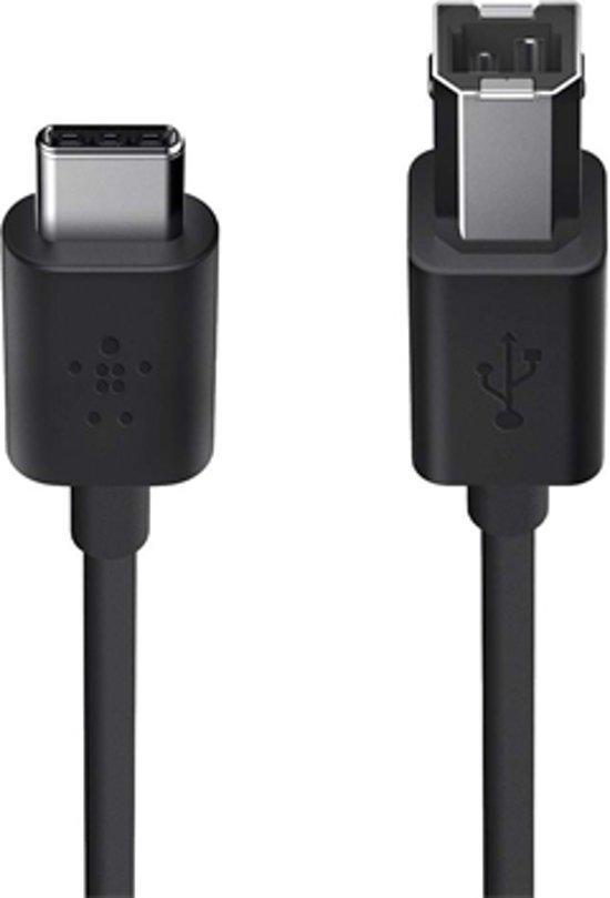 Belkin USB 2.0 USB-C naar USB B Printer Kabel - 0.9m - Zwart