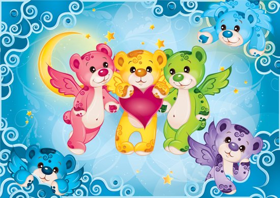 Behang Kinderkamer Regenboog : Bol.com rainbow bears behang 416x254cm