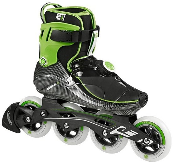 93930116031 Powerslide Vi Adrenaline Inline Skate Heren Inlineskates - Maat 42 - Mannen  - zwart/groen