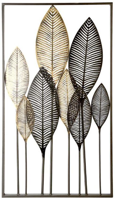bolcom wanddecoratie metaal bladeren zwartbruin