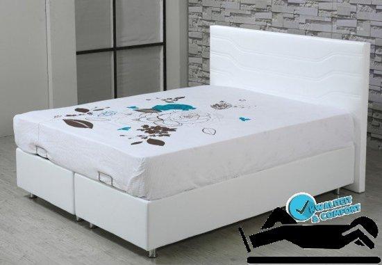 boxspring met opbergruimte baza santo 140x200 wit. Black Bedroom Furniture Sets. Home Design Ideas