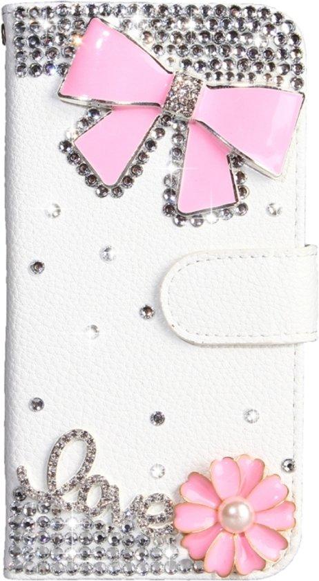 Let op type!! Strass patroon horizontale Flip lederen draagtas met houder & kaartsleuven & portemonnee & Lanyard voor Nokia 2.1 (roze strik)