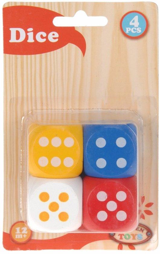 Afbeelding van het spel Grote houten dobbelstenen set 4 stuks