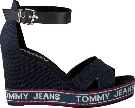 3472331fa8e bol.com | Tommy Hilfiger Dames Sandalen Pop Webbing Wedge - Blauw ...