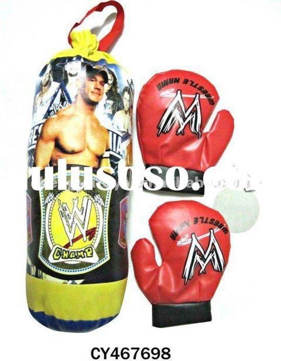 Afbeelding van het spel Stoere bokszak van WrestleMania. Boksbal + handschoenen.