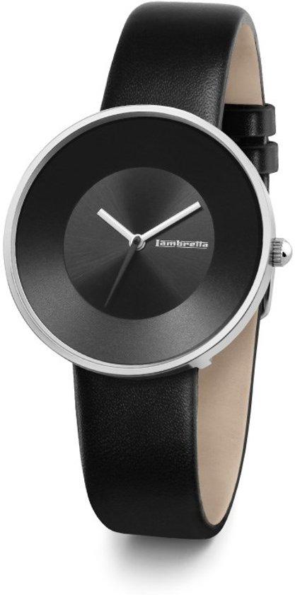 Lambretta Cielo zwart - horloge - 34 mm - leer - zwart