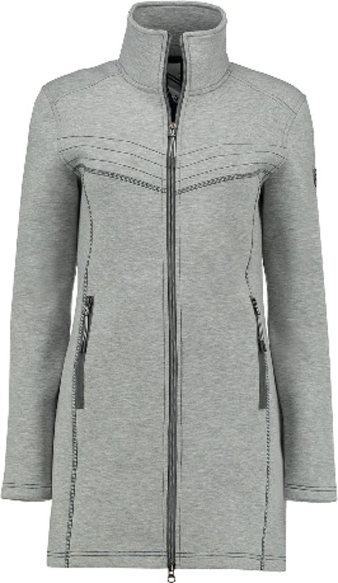 Kjelvik dames vest Lizzy light grey, licht grijs lang model - maat 48