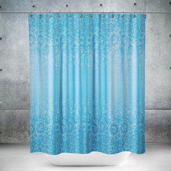 Roomture - douchegordijn - blue mosaic - mozaiek - 120 x 200