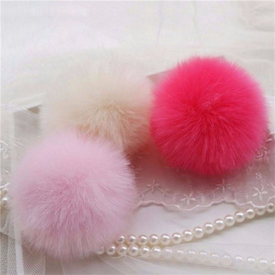 f59f51a2a2 Car Keychain Pendant Cute Soft Faux Rabbit Fur Ball Handbag Charm Keyring  Pom