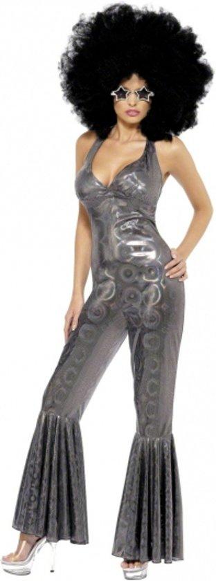 Disco catsuit zilver voor dames 40-42 (m)