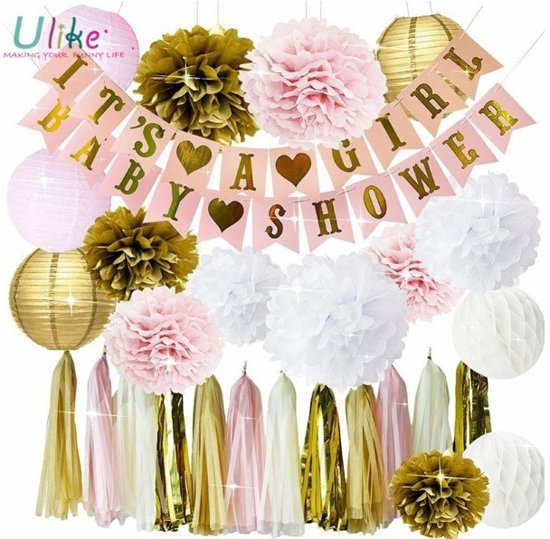 Feestpakket babyshower versiering (meisje) met honingraat, Pom Poms en banner Valentinaa