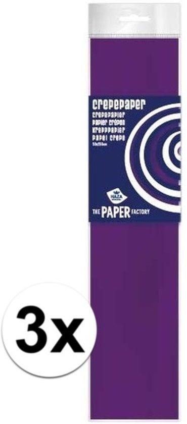 3x Crepe papier plat paars 250 x 50 cm - Knutselen met papier - Knutselspullen