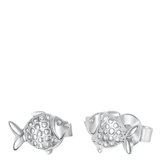 Lucardi - Zilveren Kinderoorbellen Vis